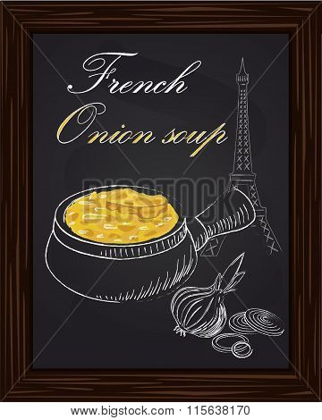 Onion Soup And Onion On A Eiffel Tower Background