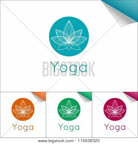 Flat Yoga Emblem With Lotus Symbol.
