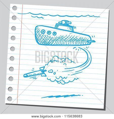 Torpedo fired from submarine