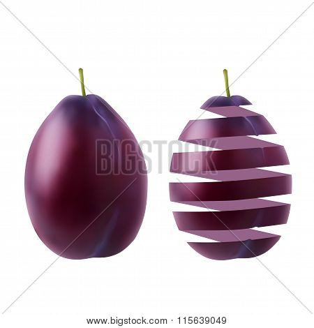 Realistic Juicy Ripe Plum And Its Peel