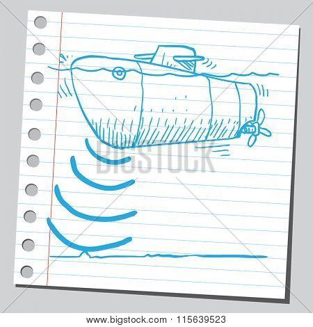 Submarine with sonar