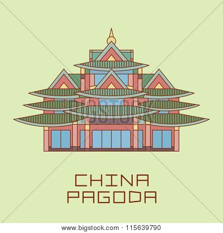 Buddist Pagoda white line drawn vector illustration