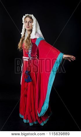 Medieval Girl In Red Dress