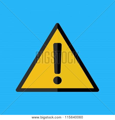 Alert Icon Flat Design Yellow Color On Blue Background.