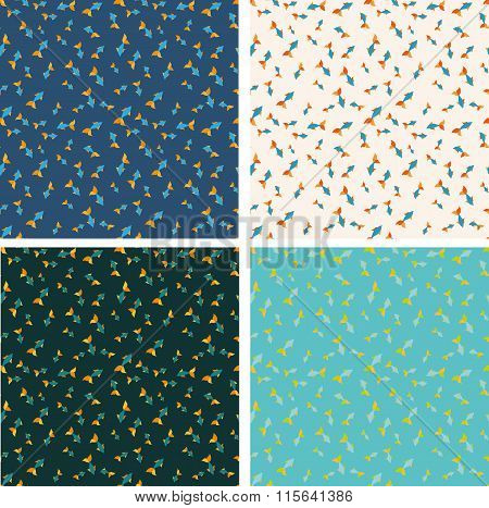 Different color fish seamless pattern set.