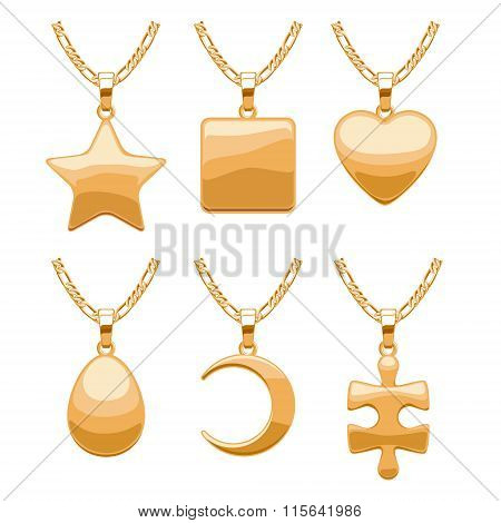 Elegant vector jewelry pendants set.