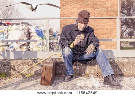 tramp eating bread sitting in landfills