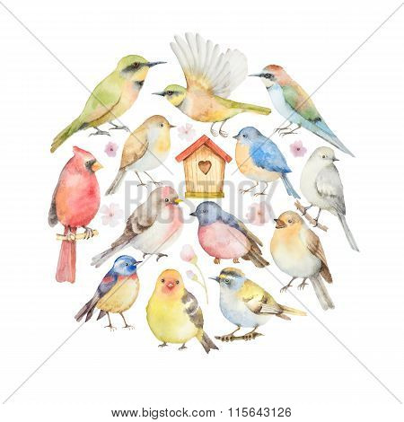 Watercolor set of birds and birdhouse in the shape of a circle.
