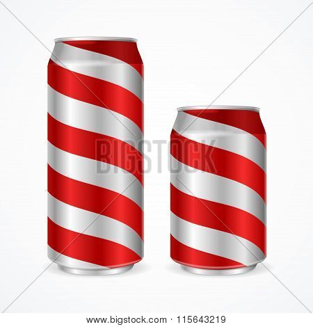 Aluminium Cans with Red Stripes. Vector