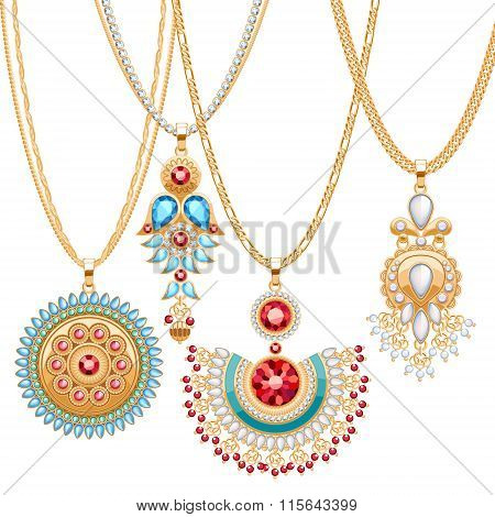 Set of golden chains with different pendants.