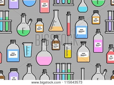 Chemical Glassware Seamless Pattern.