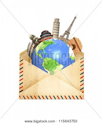 Famous monuments of the world grouped together on Earth in old envelope. Isolated on white background. Elements of this image furnished by NASA.