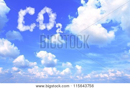 Symbol CO2 from clouds on blue sky