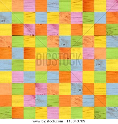 Seamless background with wooden patterns of different colors - yellow; green; lilac; blue, orange. Endless texture can be used for wallpaper, pattern fills, web page background, surface textures