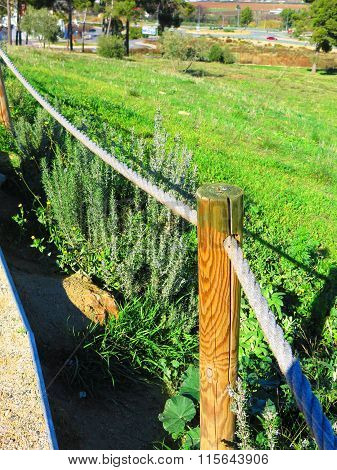 Wooden Post And Rope Railing