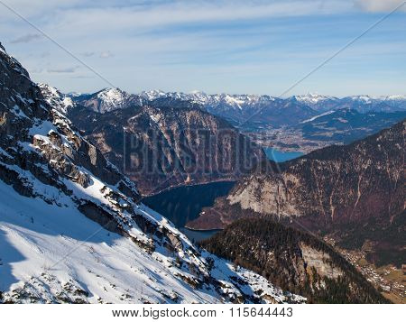 Aerial view of Hallstatt valley in Austria