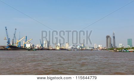 HO CHI MINH, VIETNAM - JAN 11, 2016: Views of the Saigon Port. Saigon Port is a network of ports in Ho Chi Minh City. By 2013, it has become the 24th busiest container port in the world.