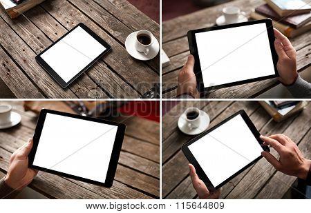 Mockup set of digital tablet computer at a city cafe environment.