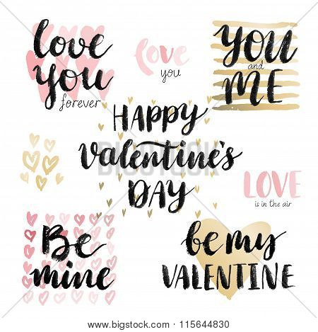 Valentine`s Day Calligraphic Set.