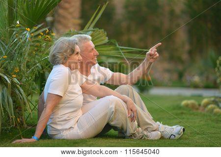 elderly  couple on nature  at summer