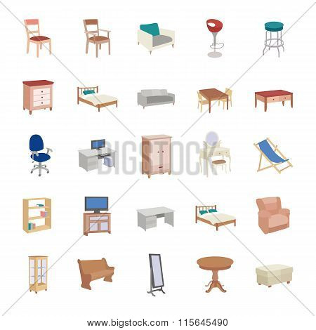 Furniture color vector icons