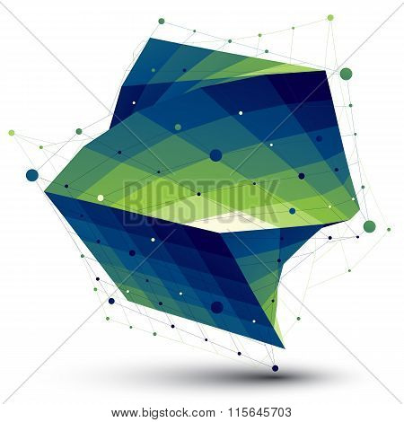 Green Squared Abstract 3D Shape, Colorful Twisted Vector Digital Lattice Object.