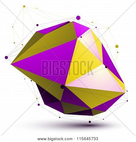 Triangular Vivid Abstract 3D Illustration, Colorful Vector Digital Eps8 Lattice Object Isolated On W