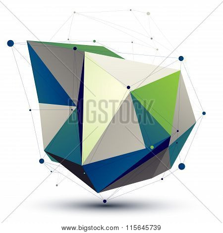 Colorful 3D Vector Abstract Technology Illustration, Perspective Geometric Lattice Unusual Figure Wi