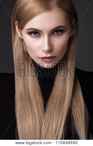 sexy  fashion model with long hair, young European attractive, beautiful eyes, full lips, perfect sk