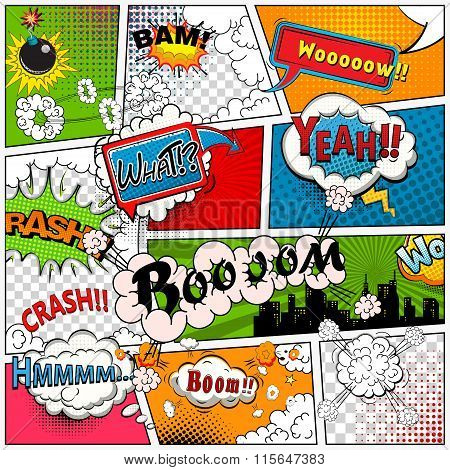 Comic book page divided by lines with speech bubbles, sounds effect. Retro background mock-up. Comic