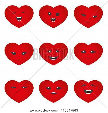 Cheerful hearts on a white background