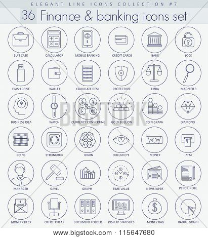 Vector Finance and Banking Outline icon set. Elegant thin line style design.