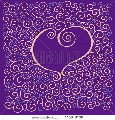 valentines card with heart and curl pattern
