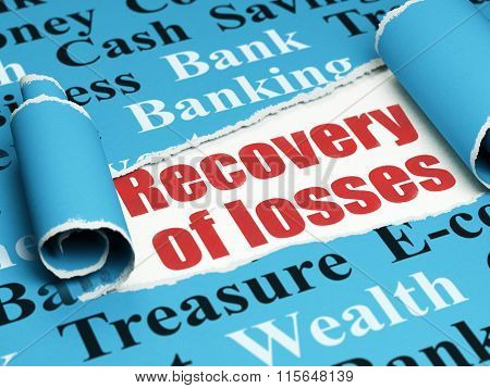 Currency concept: red text Recovery Of losses under the piece of  torn paper