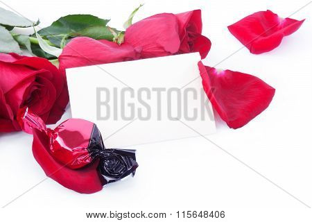 Red Roses And Candy With A Blank Gift Card