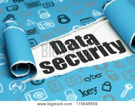 Safety concept: black text Data Security under the piece of  torn paper