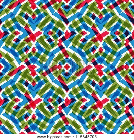 Geometric Messy Lined Seamless Pattern, Bright Vector Endless Background. Decorative Expressive