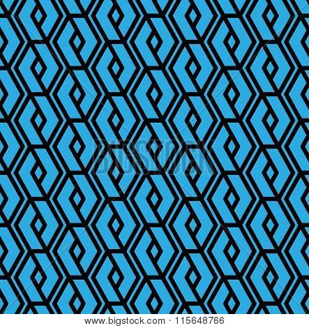 Blue Geometric Overlay Seamless Pattern, Symmetric Endless Vector Background With Intertwine Blu
