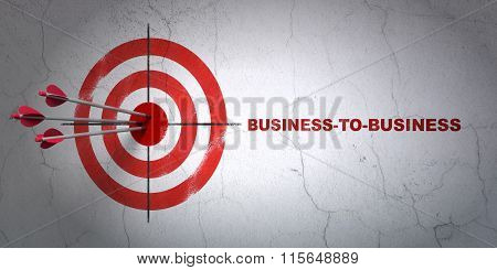 Finance concept: target and Business-to-business on wall background