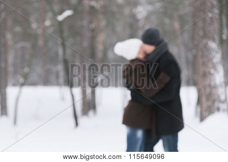 Kissing couple. Love story in winter park. Photo in defocusing