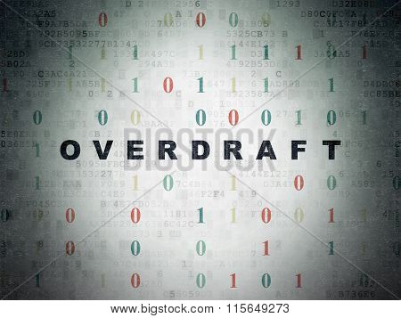 Finance concept: Overdraft on Digital Paper background