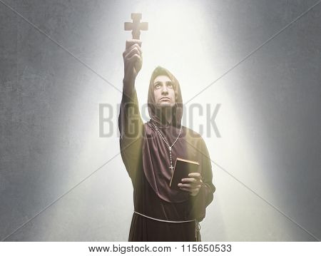 young religious man praying