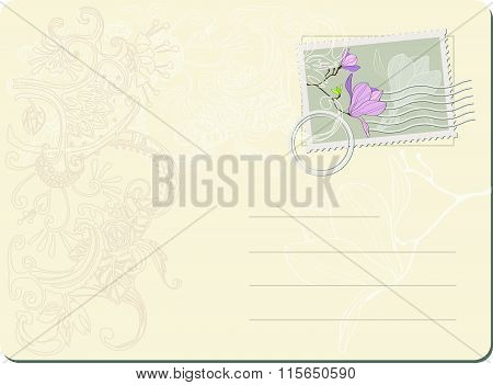 vector blank post stamp with magnolia . Vintage style