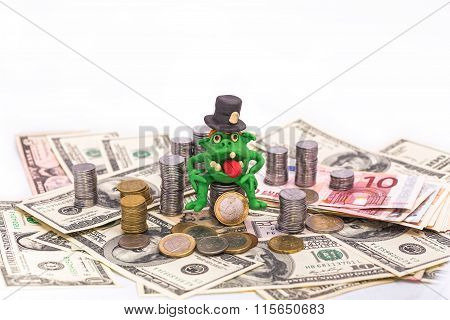 Greedy Leprechaun On The Pile Of Money