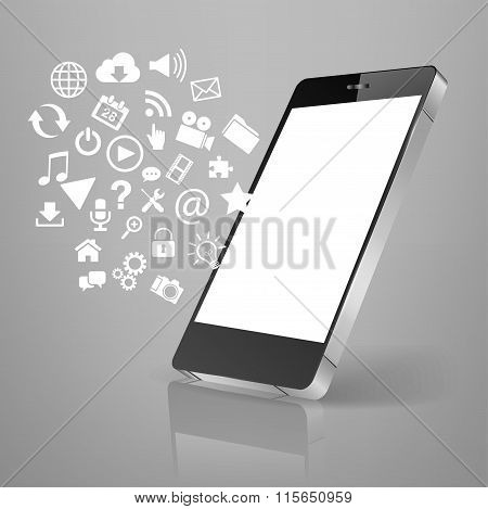 Smart Phone Emitting Holographic Image Of Social Media Related Icons.