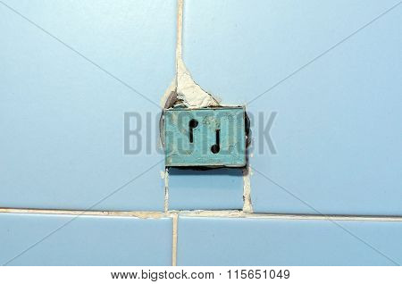 Radio Receiving Station. The Socket For Radio On A Wall.