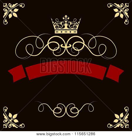 Abstract red banner with crown and corner decorative elements vector template.