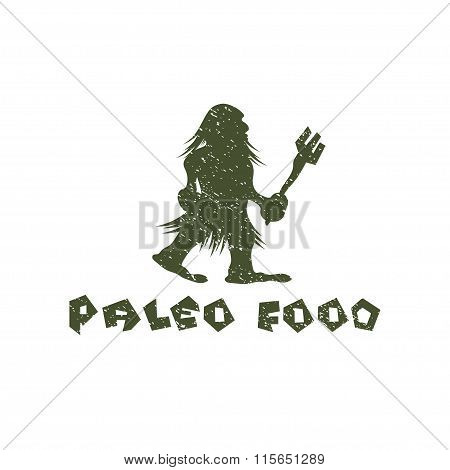 Grunge Paleo Food Caveman Vector Design Template