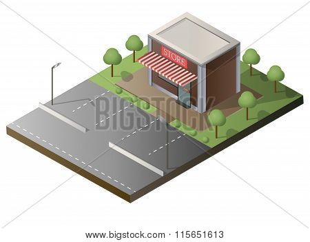Shop building local store street sale flat 3d business concept vector. window showcase.
