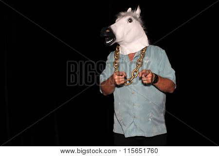An unidentifiable man wears a White Rubber Horse Head Mask while wearing a Gold Chain and points to the camera in a Photo Booth. With Black velvet curtains and room for your text